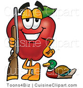 Cuisine Clipart of a Healthy Red Apple Character Mascot Duck Hunting, Standing with a Rifle and Duck by Toons4Biz