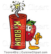 Cuisine Clipart of a Healthy Red Apple Character Mascot Standing with a Lit Stick of Dynamite Explosives by Toons4Biz