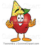 Cuisine Clipart of a Healthy Red Apple Character Mascot Wearing a Birthday Party Hat by Toons4Biz