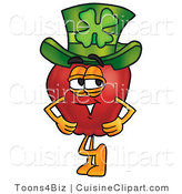 Cuisine Clipart of a Healthy Red Apple Character Mascot Wearing a Green Paddy's Day Hat with a Four Leaf Clover on It by Toons4Biz
