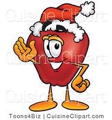 Cuisine Clipart of a Healthy Red Apple Character Mascot Wearing a Santa Hat and Waving by Toons4Biz
