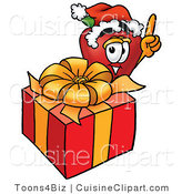 Cuisine Clipart of a Healthy Red Apple Character Mascot with a Christmas Present by Toons4Biz