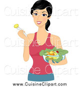 Cuisine Clipart of a Healthy Woman Eating a Salad by BNP Design Studio