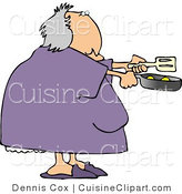 Cuisine Clipart of a Heavyset Woman Cooking Breakfast Eggs in a Skillet by Djart