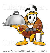 Cuisine Clipart of a Helpful Basketball Mascot Cartoon Character Dressed As a Waiter and Holding a Serving Platter by Toons4Biz