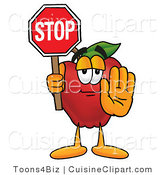 Cuisine Clipart of a Helpful Red Apple Character Mascot Holding a Red Stop Sign by Toons4Biz