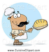 Cuisine Clipart of a Hispanic Baker Man with Fresh Bread by Hit Toon