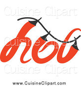 Cuisine Clipart of a Hot Chili Pepper Word Design by Elena
