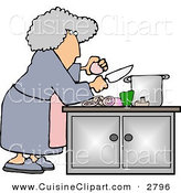 Cuisine Clipart of a Housewife Preparing a Meal for Dinner over White by Djart