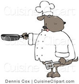 Cuisine Clipart of a Human-like Brown Chef Dog Cooking with a Skillet and Spatula by Djart