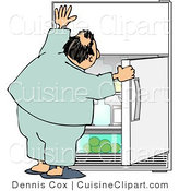 Cuisine Clipart of a Humorous Obese Man Looking for Something to Eat in the Fridge for a Midnight Snack by Djart