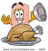 Cuisine Clipart of a Hungry Adhesive Bandaid Bandage Mascot Cartoon Character Serving a Thanksgiving Turkey on a Platter by Toons4Biz