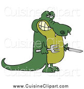 Cuisine Clipart of a Hungry Alligator Holding a Knife and Fork by Djart