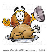 Cuisine Clipart of a Hungry and Grinning Basketball Mascot Cartoon Character Serving a Thanksgiving Turkey on a Platter by Toons4Biz