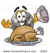 Cuisine Clipart of a Hungry and Grinning Bowling Ball Mascot Cartoon Character Serving a Thanksgiving Turkey on a Platter by Toons4Biz
