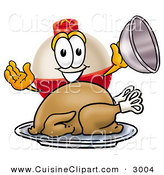 Cuisine Clipart of a Hungry and Grinning Fishing Bobber Mascot Cartoon Character Serving a Thanksgiving Turkey on a Platter on White by Toons4Biz