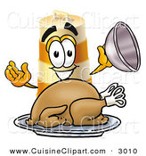 Cuisine Clipart of a Hungry and Happy Barrel Mascot Cartoon Character Serving a Thanksgiving Turkey on a Platter by Toons4Biz