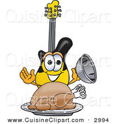 Cuisine Clipart of a Hungry and Happy Guitar Mascot Cartoon Character Serving a Thanksgiving Turkey on a Platter by Toons4Biz