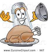 Cuisine Clipart of a Hungry and Happy Salt Shaker Mascot Cartoon Character Serving a Thanksgiving Turkey on a Platter by Toons4Biz