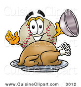 Cuisine Clipart of a Hungry and Smiling Baseball Mascot Cartoon Character Serving a Thanksgiving Turkey on a Platter on White by Toons4Biz