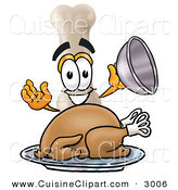 Cuisine Clipart of a Hungry and Smiling Bone Mascot Cartoon Character Serving a Thanksgiving Turkey on a Platter by Toons4Biz