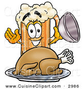 Cuisine Clipart of a Hungry Beer Mug Mascot Cartoon Character Serving a Thanksgiving Turkey on a Platter on White by Toons4Biz