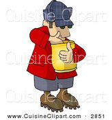 Cuisine Clipart of a Hungry Caucasian Woodsman Eating Food from a Bag by Djart