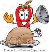 Cuisine Clipart of a Hungry Chili Pepper Mascot Cartoon Character with a Turkey in a Platter by Toons4Biz