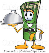 Cuisine Clipart of a Hungry Green Carpet Mascot Cartoon Character Dressed As a Waiter and Holding a Platter by Toons4Biz