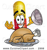 Cuisine Clipart of a Hungry Medicine Pill Capsule Mascot Cartoon Character Serving a Thanksgiving Turkey on a Platter on White by Toons4Biz