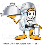 Cuisine Clipart of a Hungry Salt Shaker Mascot Cartoon Character Dressed As a Waiter and Holding a Serving Platter by Toons4Biz