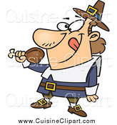 Cuisine Clipart of a Hungry Thanksgiving Pilgrim Holding a Drumstick by Toonaday
