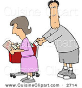 Cuisine Clipart of a Husband and Wife Going Grocery Shopping Together by Djart