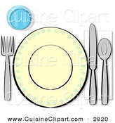 Cuisine Clipart of a Informal Complete Place Setting for One on White by Djart