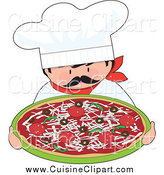 Cuisine Clipart of a Itialian Chef Holding a Pizza by Maria Bell