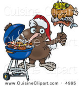 Cuisine Clipart of a Kiwi Bird Wearing a Santa Hat and Holding Food on a BBQ Fork by Dennis Holmes Designs
