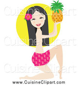 Cuisine Clipart of a Kneeling Hawaiian Woman Holding up a Pineapple by Maria Bell
