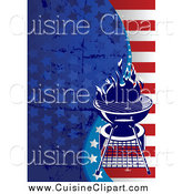 Cuisine Clipart of a Labor Day, Independence Day Background of Grungy Stars and Stripes with a Bbq by Pushkin