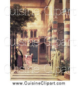 Cuisine Clipart of a Ladies and Girl Trying to Catch Apples from an Apple Tree in a Courtyard, Damascus: Jew's Quarter by Frederic Lord Leighton by JVPD