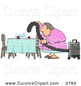 Cuisine Clipart of a Lazy Caucasian House Wife Using a Vacuum to Suck Everything off the Dinner Table so She Doesn't Have to Clean on White by Djart