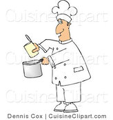 Cuisine Clipart of a Lazy Chef Pouring Food from a Can into a Cooking Pot by Djart