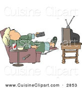 Cuisine Clipart of a Lazy Couch Potato Man Holding the TV Remote Controller by Djart