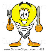 Cuisine Clipart of a Light Bulb Mascot Holding a Knife and Fork by Toons4Biz