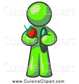 Cuisine Clipart of a Lime Green Man Holding an Apple and Cucumber by Leo Blanchette