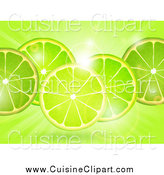 Cuisine Clipart of a Lime Slicess over Flares and Rays by Elaineitalia
