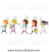 Cuisine Clipart of a Line of Diverse Happy Chef Kids Walking to the Left by BNP Design Studio