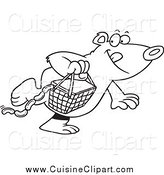 Cuisine Clipart of a Lineart Bear Stealing a Picnic Basket by Toonaday