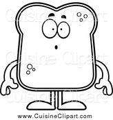 Cuisine Clipart of a Lineart Surprised Bread Character by Cory Thoman