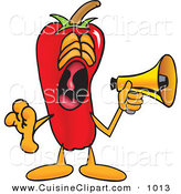 Cuisine Clipart of a Loud Chili Pepper Mascot Cartoon Character Screaming into a Megaphone by Toons4Biz