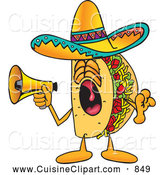 Cuisine Clipart of a Loud Taco Mascot Cartoon Character Screaming into a Megaphone by Toons4Biz